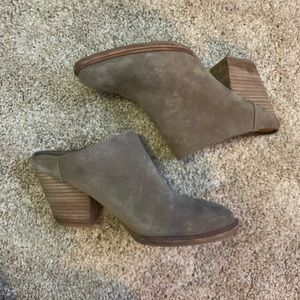 Steve Madden taupe mules worn once!